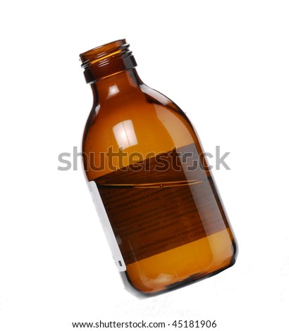 One Syrup bottle on white background.