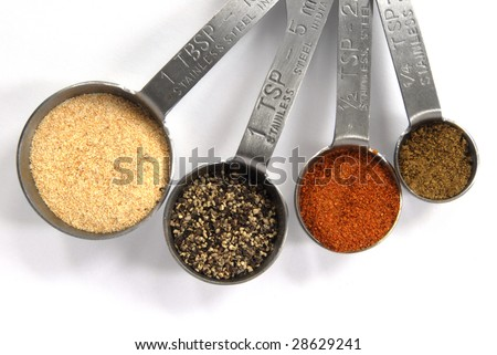 stock photo : One Tablespoon, One Teaspoon, Half Teaspoon and Quarter