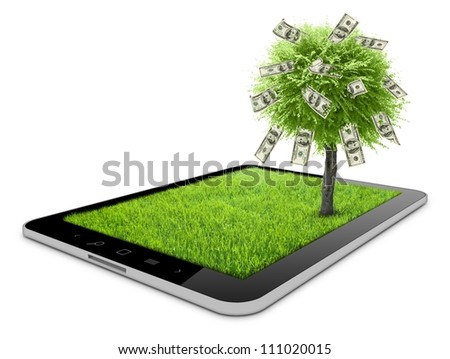 one tablet on the white backgrounds with grass field and money tree on it