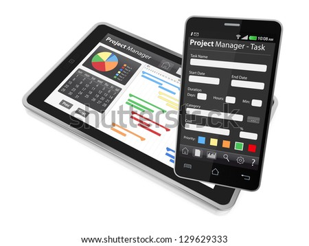one tablet pc and a cellphone with project manager software and gantt chart (3d render)