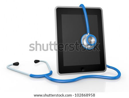 one tablet pc and a stethoscope; concept of computer repair or medical technologies (3d render)