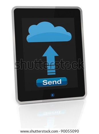 one tablet pc that sends data to a remote storage, concept of cloud computing (3d render)