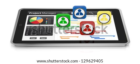 one tablet pc with a gantt chart and businessman icons (3d render)