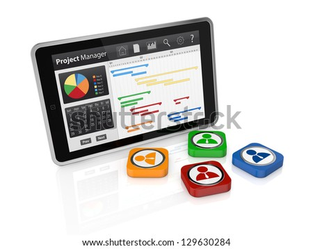 one tablet pc with a gantt chart and businessman icons (3d render) - stock photo