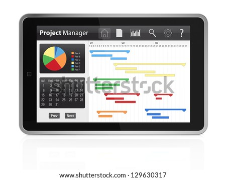 one tablet pc with project manager software and gantt chart (3d render)