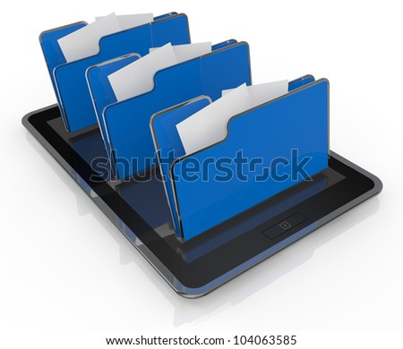 one tablet pc with three  folder icons (3d render)