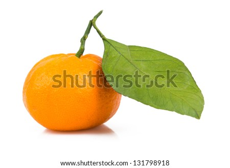 one tangerine with leaf isolated on white