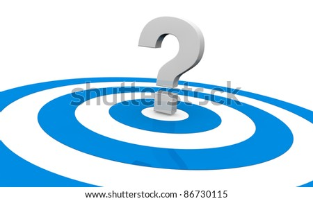 one target with a question mark on center, concept of an unknown target or unknown strategy to reach the goal (3d render)