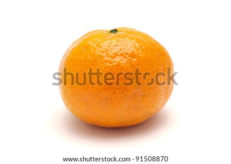 One tasty tangerine on white background