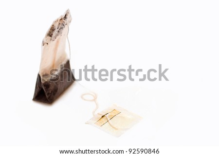 One tea bags on a white background.
