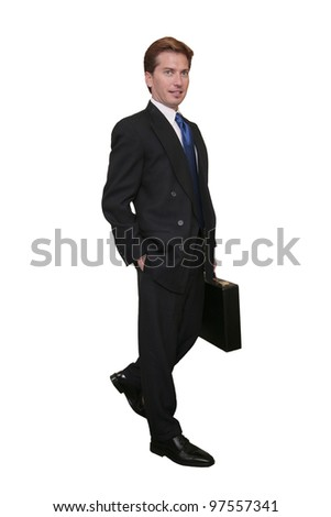 one thirties businessman in a dark suit with briefcase over white