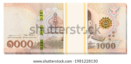 One thousand Thai Baht banknote stack, much banknote of 1000 THB. Isolated on white background. Economic movements of Thailand Idea. 3D illustration. Stock photo ©