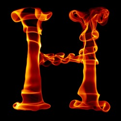 one title letter from smoke  fire alphabet isolated on black