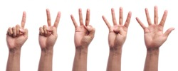 One to five fingers count hand gesture isolated on white background.