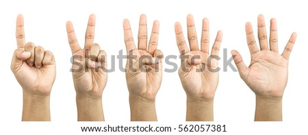 One to five fingers count signs isolated on white background #562057381