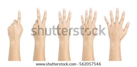 One to five fingers count signs isolated on white background #562057546