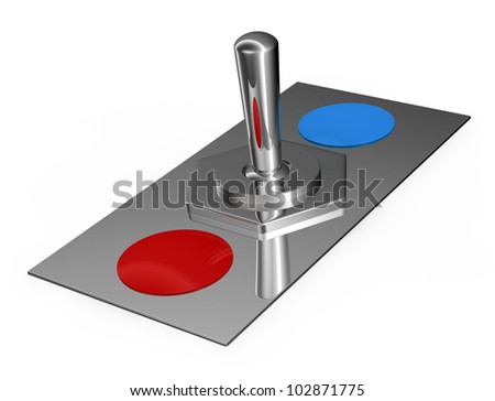 one toggle chrome switch with red and blue choice (3d render)