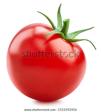 One tomato isolated on white background. Fresh red tomato with clipping path