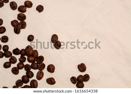 One-tone light background of coarse fabric. Arabica coffee beans are scattered. Caffeine drink.