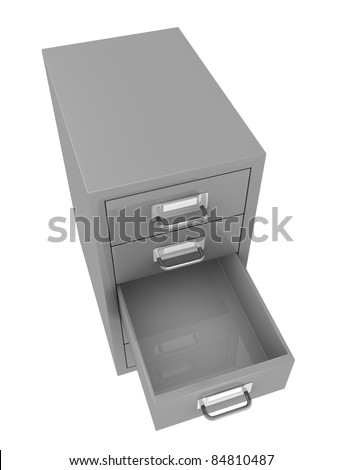 one top view of a file drawer with an empty open drawer (3d render)