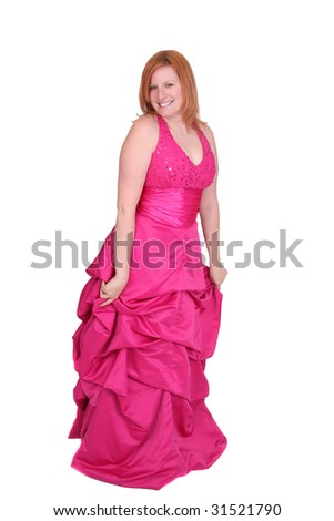 one twenties redhaired woman in a hot pink prom type dress over white