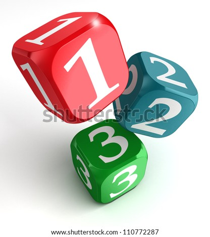 one two three numbers on red blue green box on white background