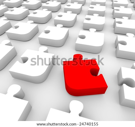 One unique red piece of a puzzle among many white pieces