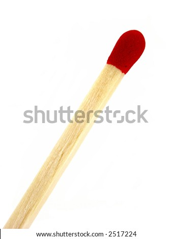 One unlit wooden matchstick isolated on white background.