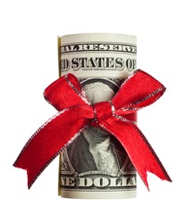 One US dollar wrapped by ribbon isolated on white background