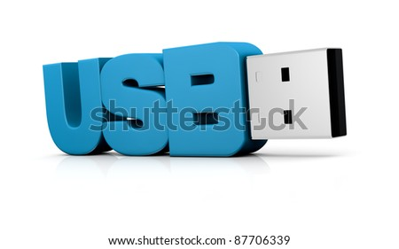 one usb key made with the word: usb (3d render)