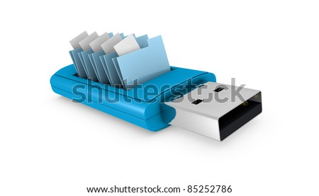 one usb key that contains data folders (3d render)