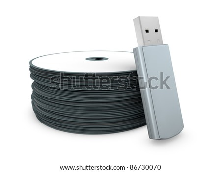 one usb key with a stack of cd concept of evolution of data storage (3d render)