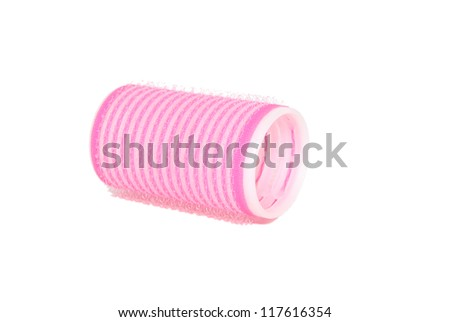 One velcro roller lying on its side, isolated on a white background