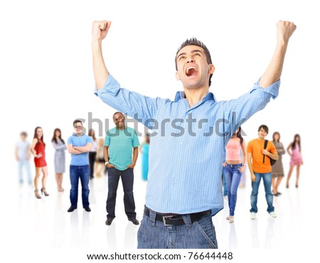 One very happy energetic businessman with his arms raised