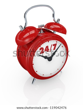 one vintage alarm clock with text: 24/7, concept of always available (3d render)