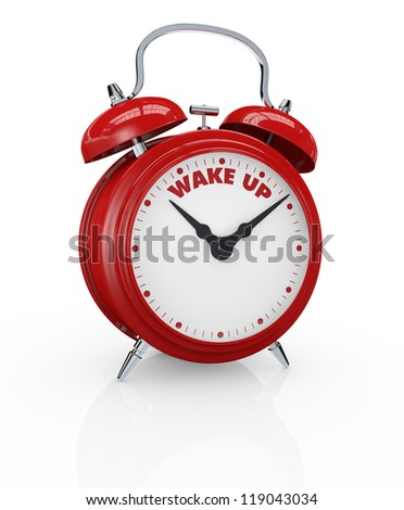 one vintage alarm clock with the text: wake up instead of the numbers (3d render)