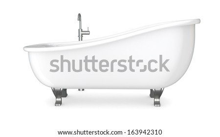 one vintage bathtub with the faucet (3d render)