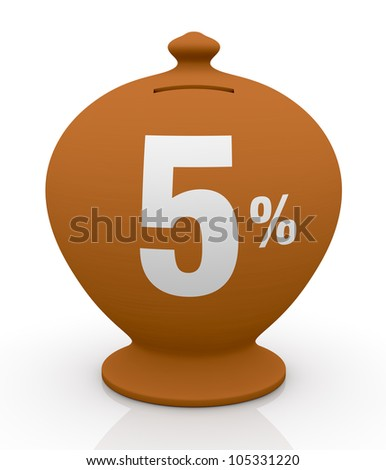 one vintage money box with number five and percent symbol(3d render)