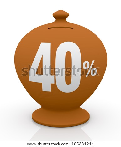 one vintage money box with number forty and percent symbol(3d render)
