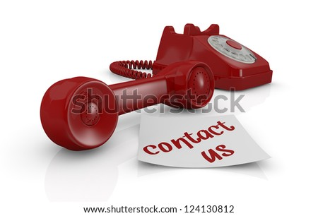 one vintage telephone with a sticky note and text: contact us (3d render)