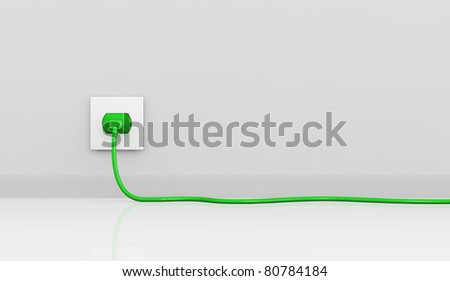 one wall with an electric plug and a cable of green color (3d render). some empty space for further personalization - stock photo