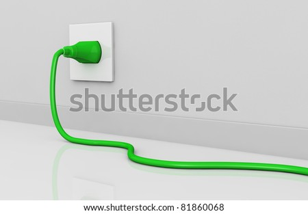 one wall with an electric plug and a cable of green color (3d render). some empty space for further personalizations
