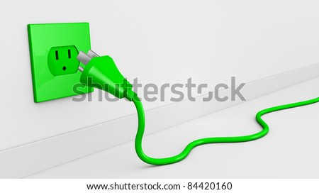 one wall with an electric plug and a cable of green color (3d render). some empty space for text