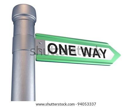 One way . Conceptual. 3d render