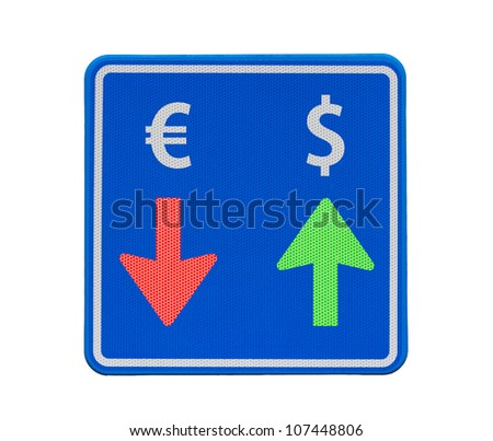 One way dollar and euro currency traffic: the dollar is rising, the euro is falling.