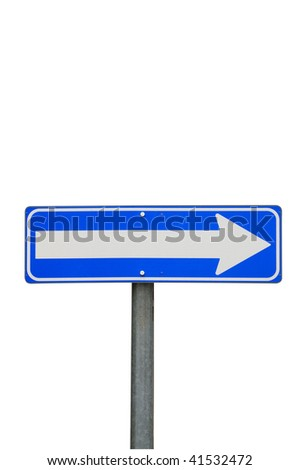 One way road sign, right direction on a white background