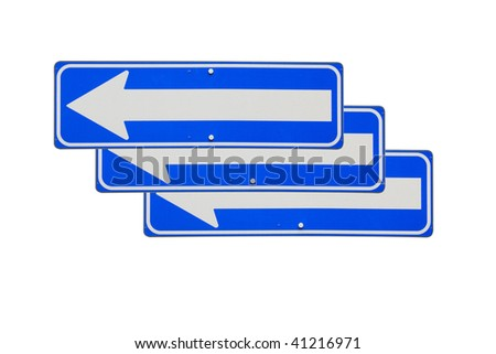 One way road signs