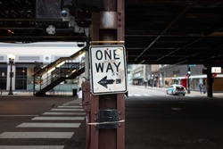 One Way Sign in Chicago, USA