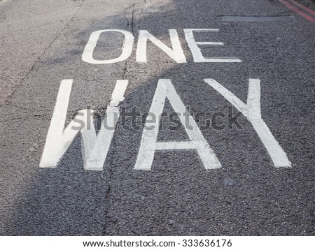 One way sign in the street #333636176