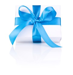 One White boxs tied Blue satin ribbon bow Isolated on white background